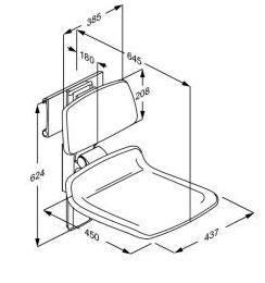 pressalit care r7440112 plus duschklappsitz mit armlehne. Black Bedroom Furniture Sets. Home Design Ideas