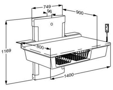 pressalit care wickeltisch r8662000 elektr verstellbar bis bodenn he 1400 mm 75 kg last. Black Bedroom Furniture Sets. Home Design Ideas
