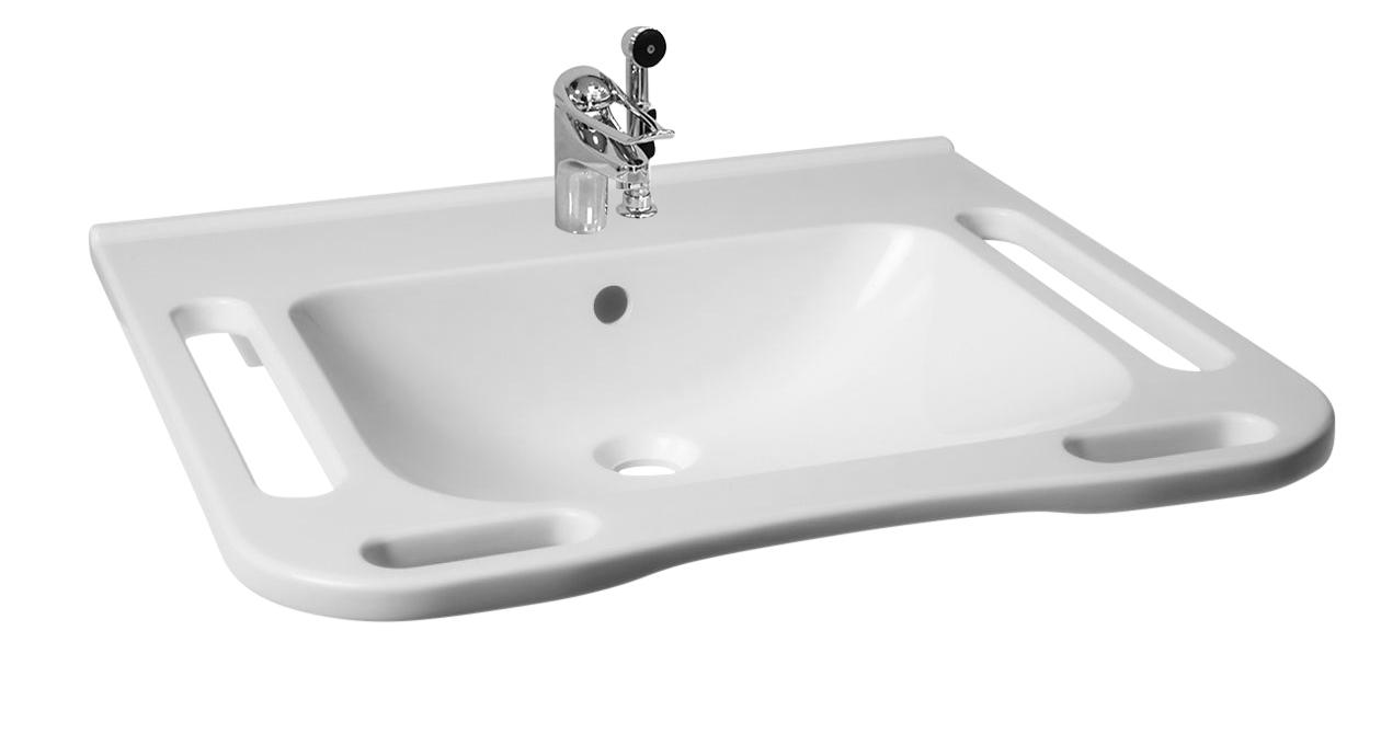 KIBOMED GTM602 Waschbecken Senioren und Rollstuhlfahrer 600x555 mm, Ecken abgerundet, mit Überlauf