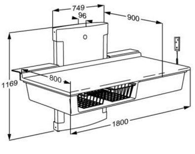 pressalit care wickeltisch r8663000 elektr verstellbar bis bodenn he 1800 mm 75 kg last. Black Bedroom Furniture Sets. Home Design Ideas